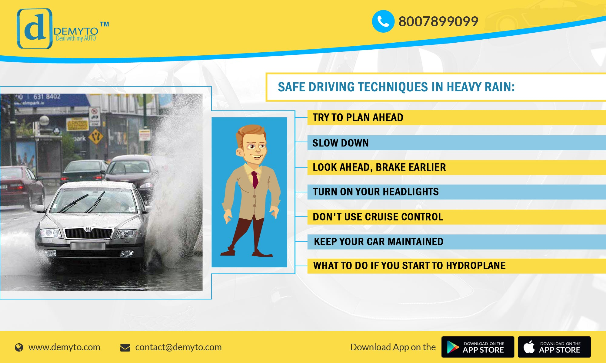 Avoid jeopardy while DRIVING in heavy rain